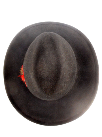 "Vintage Rancher Cowboy Fedora Black Felt Hat Size 6 3/4 Small by Henri-Henri Montreal, Leather Ribbon, Large 3"" Brim, Red Feathers"