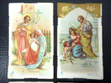 Lot of 4 Antique 1920's Religious Mini Cards Lithographs from Italy, Catholic Holly Scenes, Color, Jesus, Mary and Joseph
