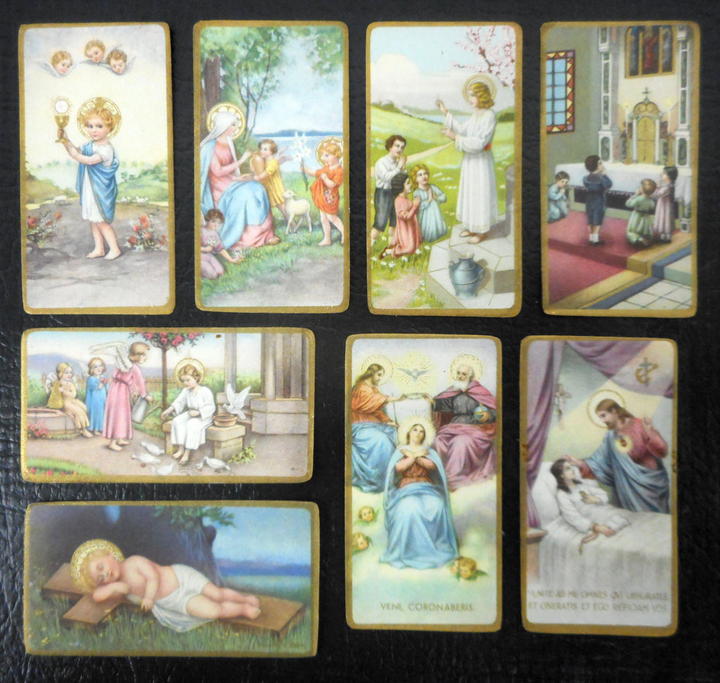 Lot of 8 Antique 1920's Religious Mini Cards Lithographs from Switzerland, Catholic Holly Scenes, Color and Gold Paint, Children