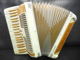 Vintage Castelfidardo Bontempi Ubaldo Piano Accordion 120 Basses 41 keys, Gold Flakes, Amber, With Case