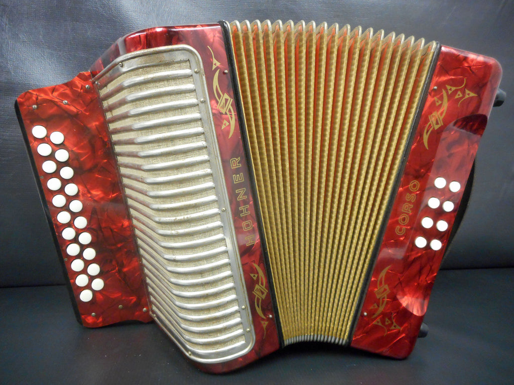 Vintage Hohner Corso Diatonic Accordion G/C Keys, 8 Bass 21 Treble, Made in Germany, Deep Red