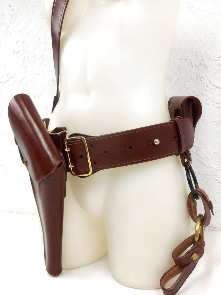 Vintage Horse Mounted Police Men's Belt Size 34 with Accessories, RCMP Royal Canadian Mounted Police, Burgundy Leather