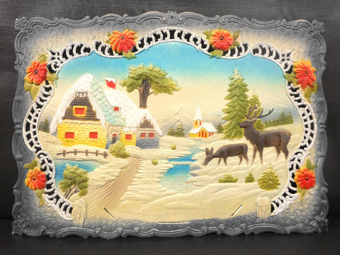 Vintage West German Christmas Display Cardboard Store Advertising, House, Moose and Church, 18.75 X 13""