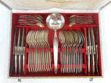 Vintage 1930s Francois Frionnet France Silverplate Flatware Cutlery Set for 12, Complete 49 Pieces Louis XV Set, Laddle, Original Box