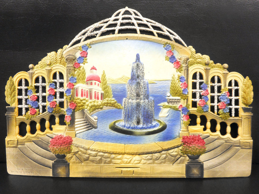 Vintage West German Courtyard Display Cardboard Store Advertising, Fountain, White Swan, Pillars, Pink and Blue Flowers, 18.5 X 12.5""