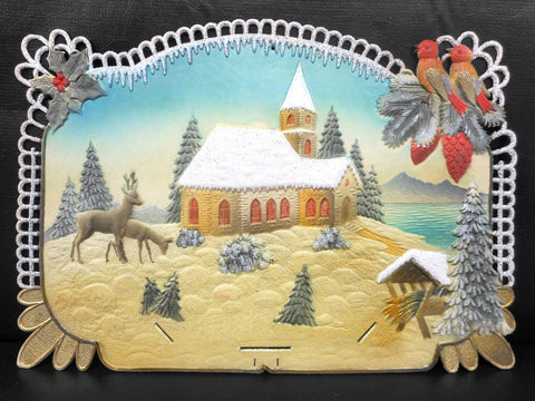 Vintage West German Christmas Display Cardboard Store Advertising, Deers, Birds, Church and Mistletoe, 18.5 X 12.75""