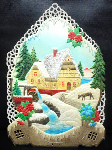Vintage West German Christmas Display Cardboard Store Advertising, Watermill, Winter, Deer and Flowers, 12.5 X 18""
