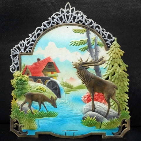 Vintage West German Nature Display Cardboard Store Advertising, Moose, Deer, Lake, Watermill and Moutain, 12 X 13.25""