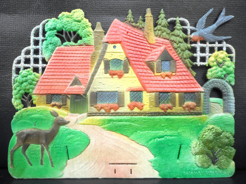Vintage West German Nature Display Cardboard Store Advertising, House, Deer, Grass, Blue Bird, 12.5 X 9.5""