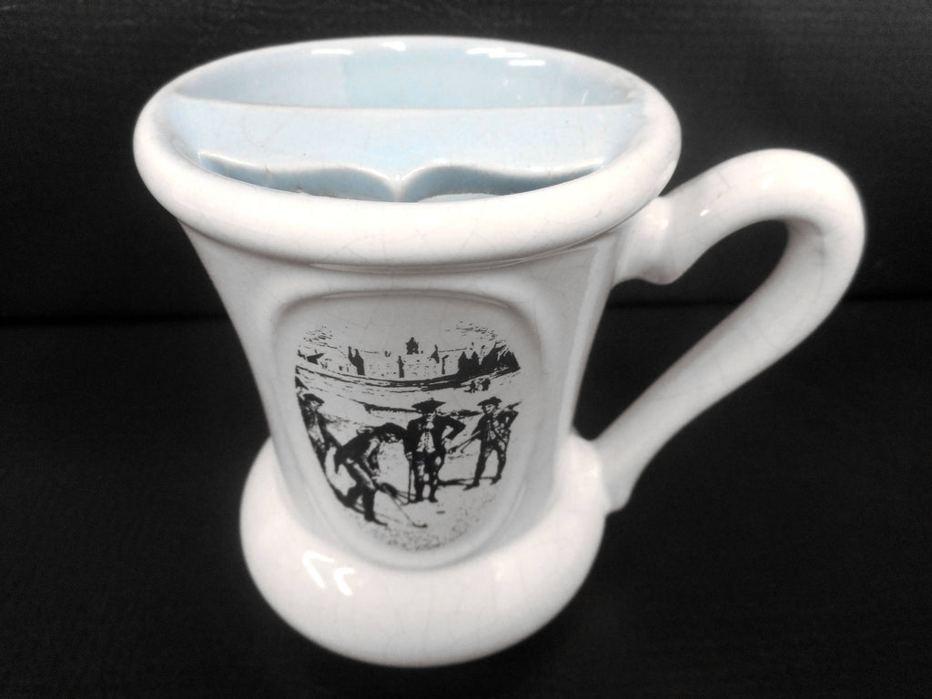 "Vintage Barber Mustache Cleaning Porcelain Cup 4"", Export A Kings Cigarette Advertising, Golfing Scene"