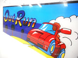 Original 1980s Plexiglas Arcade Game Machine Marquee, Out Run Game by Sega, 24 X 7.5 inches, Red Ferrari Racing Car