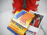 Vintage 1980s K-Way Kway Jacket Windbreaker, Zip Up Waterproof Raincoat, Size 5, Model 126, Red White Grey, NOS New Old Stock