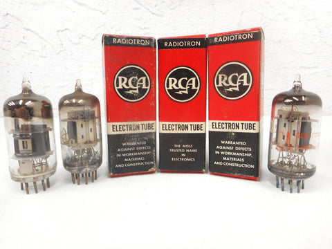 3 Vintage RCA Radiotron Electron Vacuum Tubes Bulbs 6AS8, Original Boxes, New Old Stock NOS, For Vintage Radios and Television
