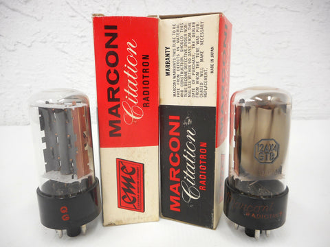 2 Vintage Marconi Citation Radiotron Electron Vacuum Tubes Bulbs 12AX4GTB, Original Boxes, New Old Stock NOS, For Vintage Radios and TVs