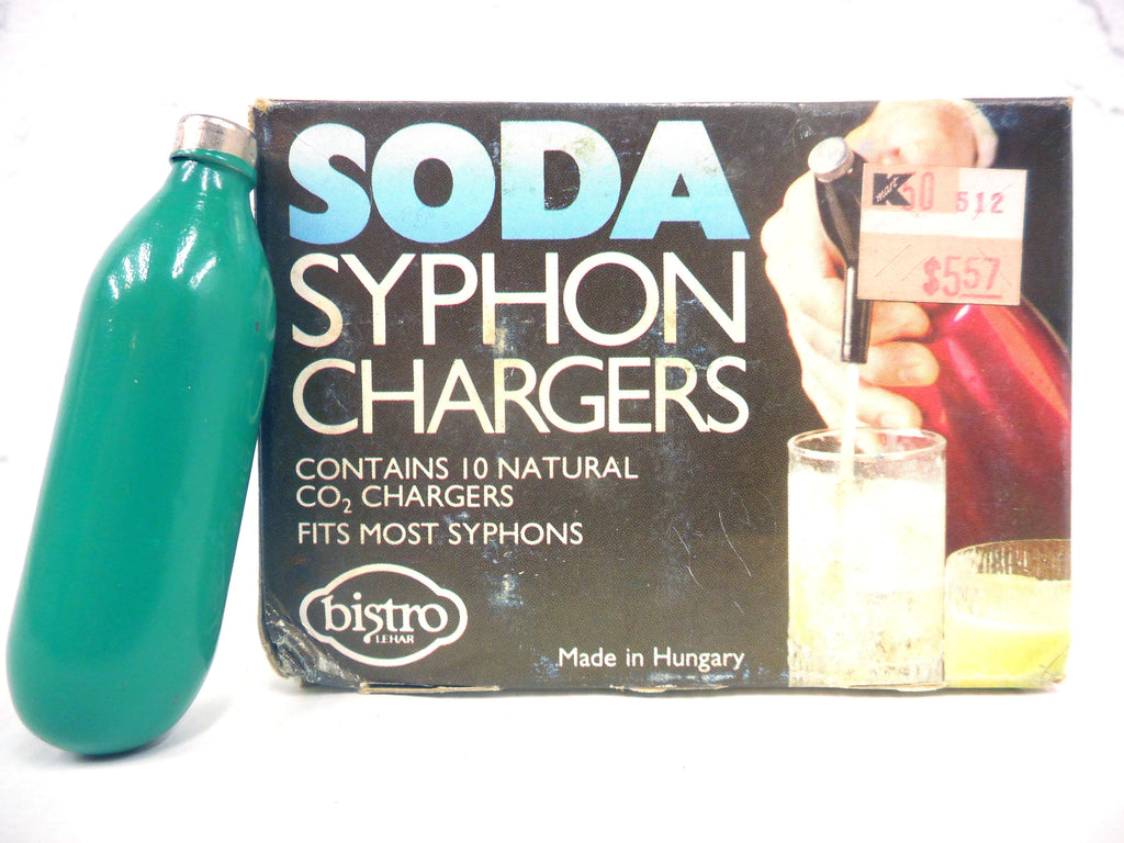 Complete box of Vintage Soda Syphon Seltzer Bottle Bulbs Chargers Changers, New Old Stock NOS