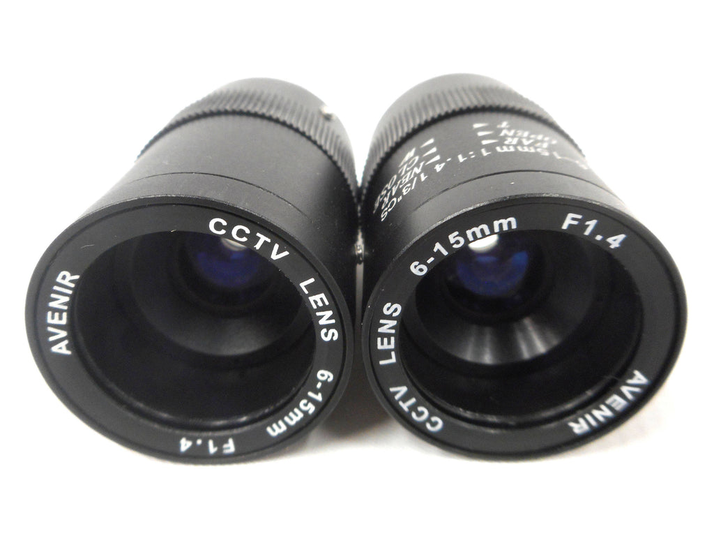 "Lot of 2 Vintage Avenir Camera CCTV Lens Zoom 6-15 mm, F1.4, 1/3"" CS Mount, NOS New Old Stock, Never Used, Japan, Surveillance Camera"