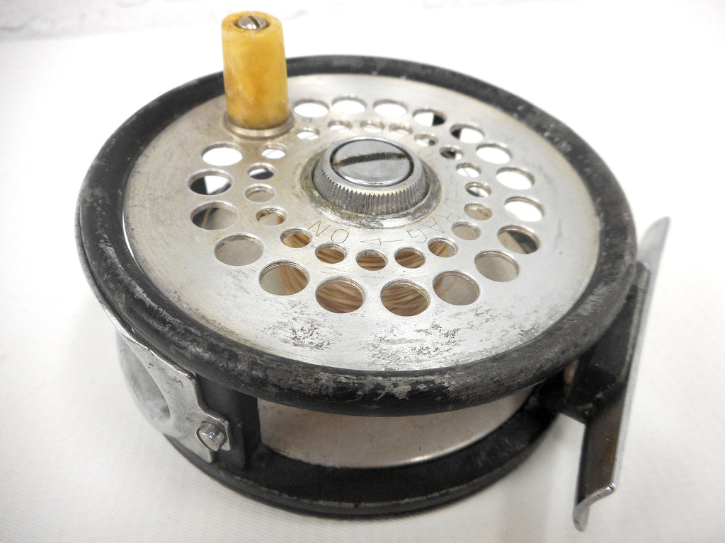 "Vintage 1950's Fly Fish Reel 2 7/8"" Dia. Signed Ocean City Plymouth Model 77, Ajustable Fly Wheel Drag, On Off Pawl Switch"