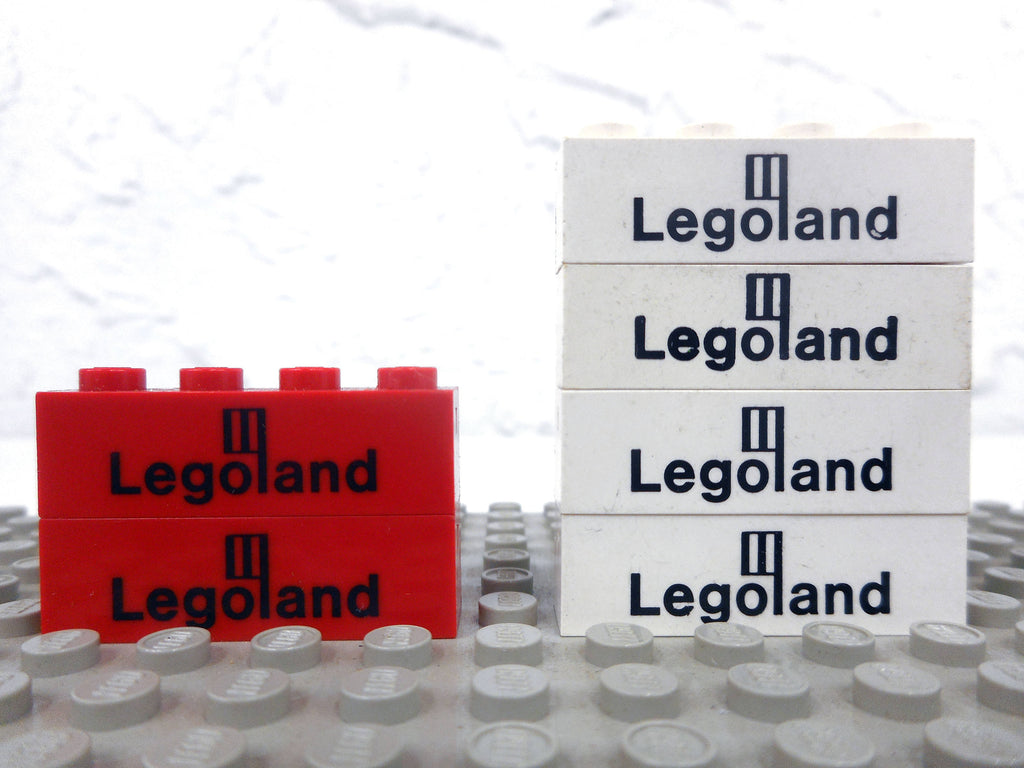 Lot of 6 Vintage 1980's Legoland Printed Bricks Blocks,  Lego Playset Parts, 1 X 4""