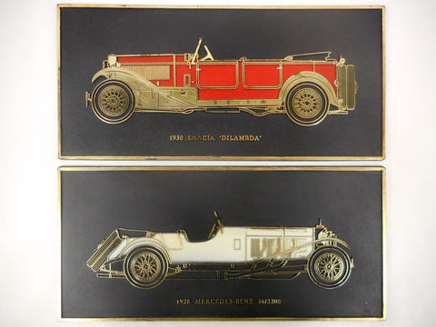 "Vintage 1928 Mercedes-Benz and 1930 Lancia Dilambda Wall Plaques 11 X 5"" Made in England"