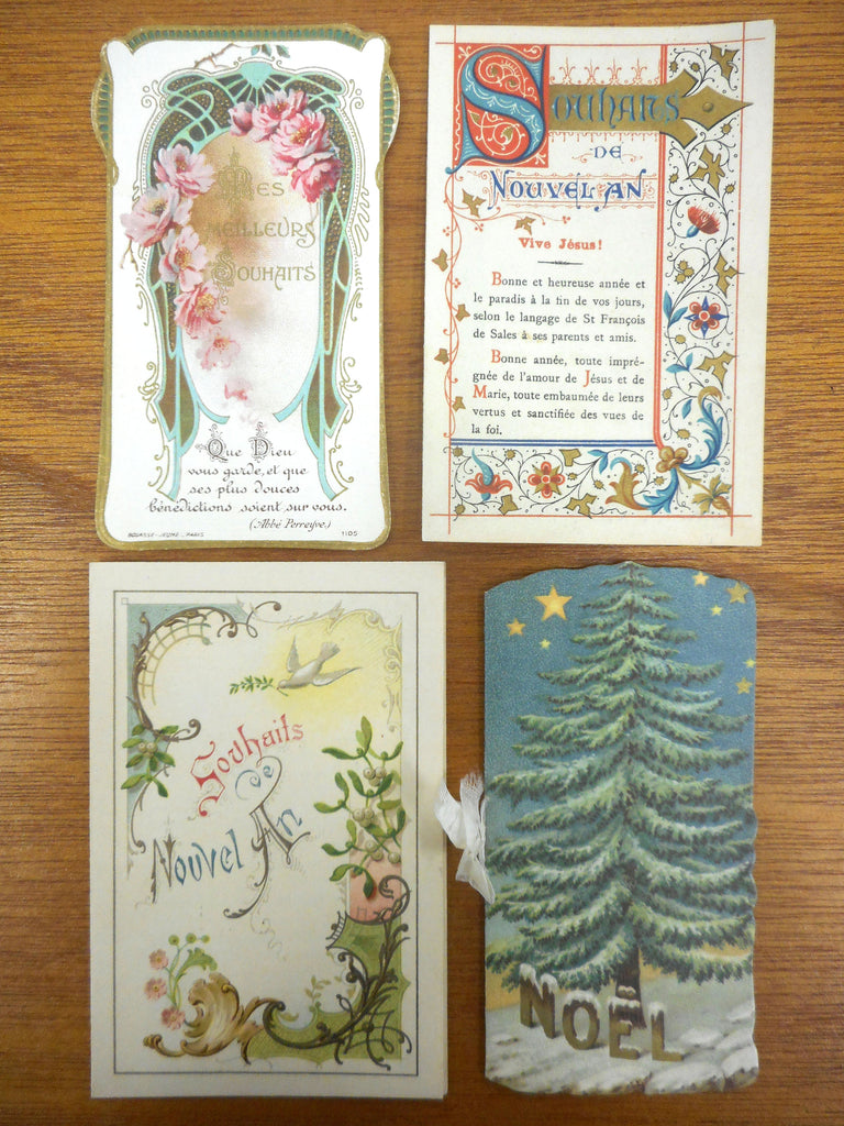 4 Antique 1920's French Paris Christmas Greetings Cards Lithograph, New Year Wishes, Spiritual Calendars