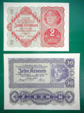 1922 Austria Banknote 2 and 10 Kronen UNC Uncirculated 1033 016027, Red and Purple