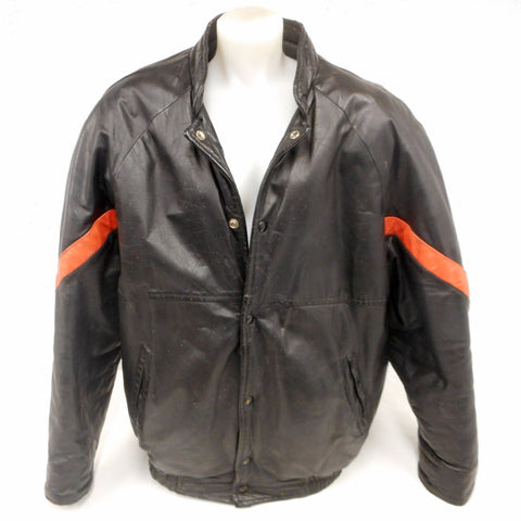 Vintage 1980's Black Leather Bomber Jacket Coat Size XL for Men, Orange Stripes, Motorcycle Racer, Quilted Interior, Made in Montreal Quebec