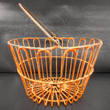 "Antique Early Primitive Farm Chicken Egg Basket 15"" Diameter with Handle, Original Orange Paint, Metal Wires, Cool Fruit Basket, Lamp Shade"
