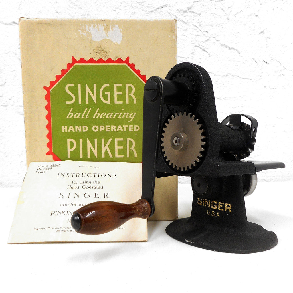 Vintage Singer Pinking Machine Model 12379, Hand Operated, Cast Iron, Zigzag Bias, Instructions and Original Box
