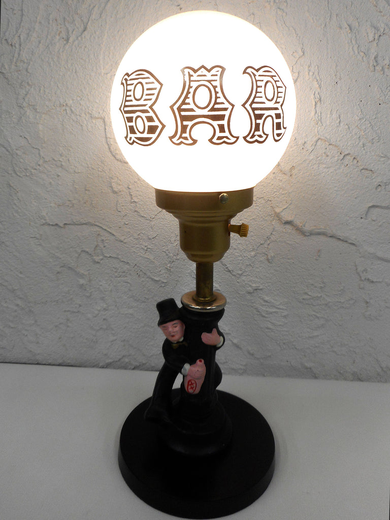 "Vintage 1970's Charlie Chaplin Drunk Hobo Man Bar Lamp 16.5"" Tall, White Milk Glass Globe Marked Bar, All Metal Version"
