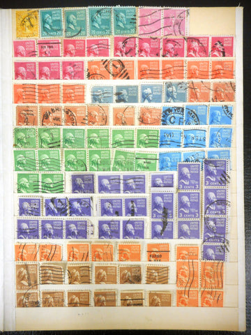 1920-1940 USA Stamps Estate Collection 100+ Lot, Monroe, Garfield, Harrison, Adams, Buchanan, Tyler, Martha Washington, Jefferson, Franklin