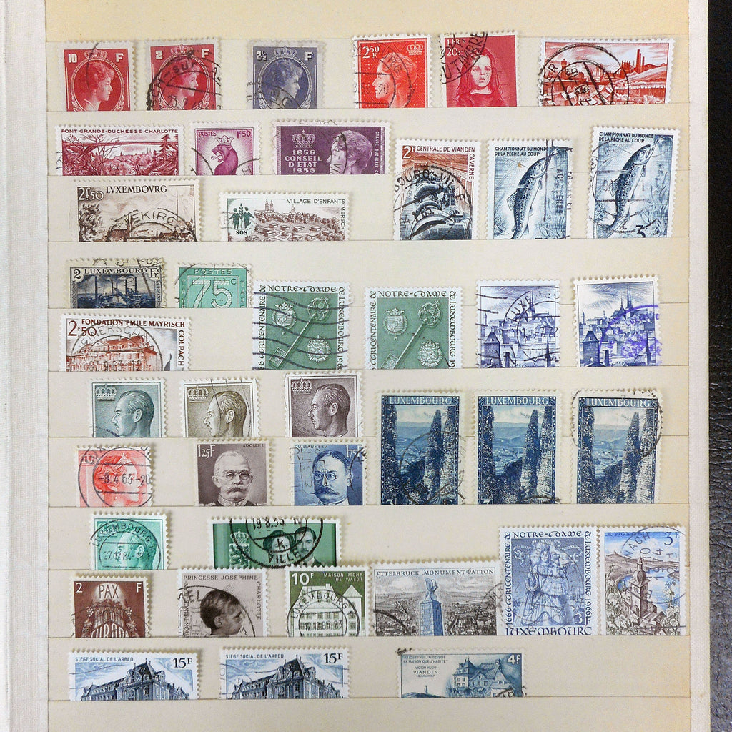 1930-1960 Estate Stamp Collection of Luxembourg 40+ Lot, Grand Duke Adolphe, Guillaume, Charlotte, Independance, Occupation