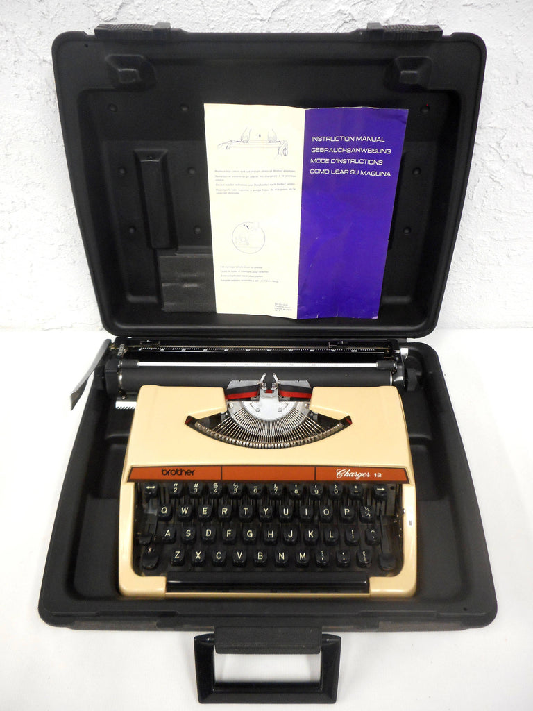 Vintage Brother Charger 12 Portable Typewriter with Instructions, Original Black Case, Nagoya Japan, Brown Beige, Retro Look