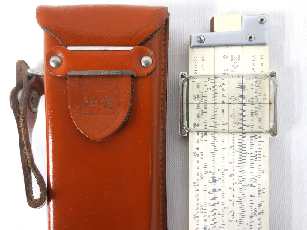 "Vintage 1947 Keuffel & Esser Slide Rule Slipstick 11 1/2"", Log Duplex Decitrig Model 4081-3, Original KE Leather Case and Strap"
