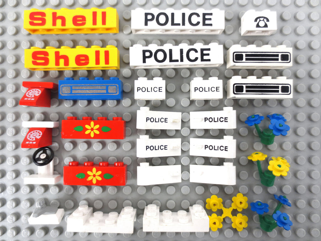 Vintage 1970's Lego City Legoland Rare Bricks with Text Print Parts Lot, Shell Gas Station, Police, Truck Grill, Red Telephone, Tap, Flowers