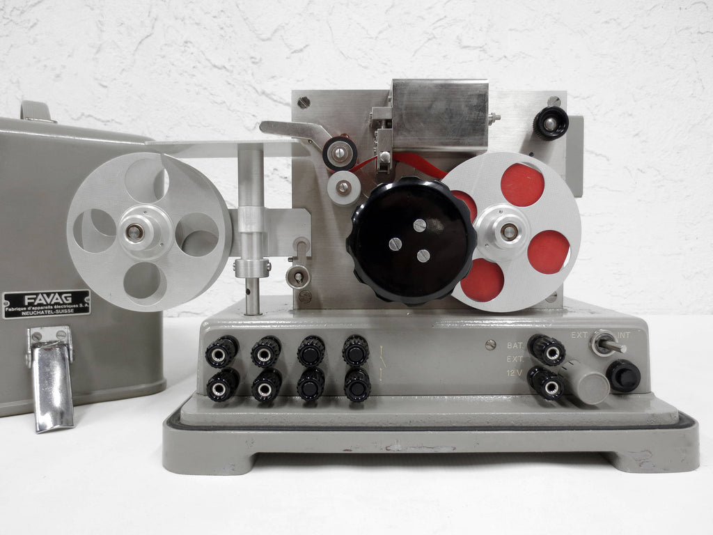 Rare Vintage 1950's Favag Portable Tape Reel Recording Chronograph from Switzerland, 1/100 Sec Intervals, Astronomical Theodolite, Case