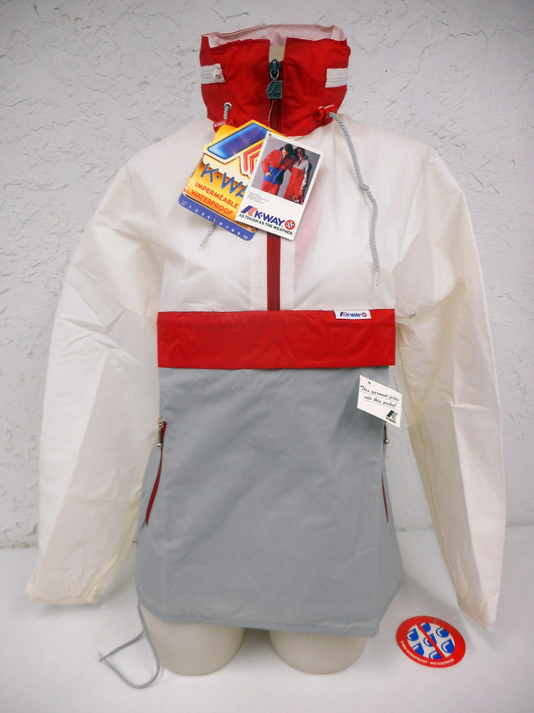 Vintage 1980's K-Way Kway Jacket Windbreaker, Zip Up Waterproof Raincoat, Size 5, Model 126, Red White Grey, New Old Stock NOS