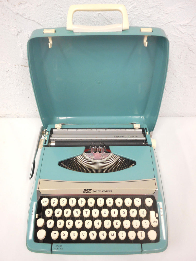Vintage 1960's Smith Corona Corsair Deluxe Portable Typewriter Made in England, Turquoise, Error Control, With Case
