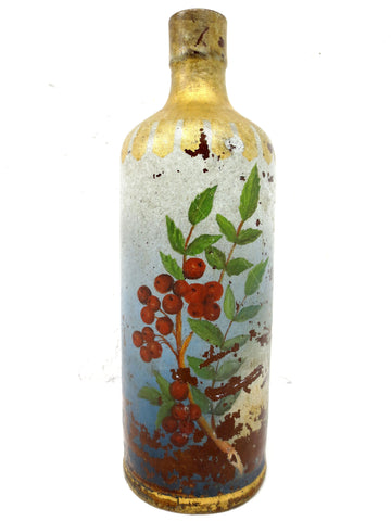 "Antique Stoneware Pourer Bottle 10"" Tall Signed Japanese Ink Antoine & Sons, Cherry Branch Painting, General Store Display, Montreal, Quebec"