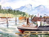 "1970's Gordon Kit Thorne Watercolor Painting 14 X 22"", Boat at Pier with Lions' Peaks Mountains in Vancouver, British Columbia, Canada"