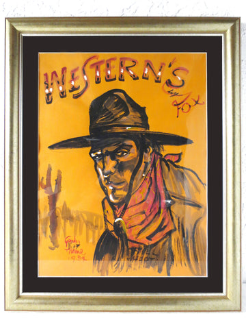 "Vintage 1924 Cowboy Painting 24 X 18"" by Gordon Kit Thorne, Watercolor Advertising for a 20th Century Fox Western Movie with William S Hart"