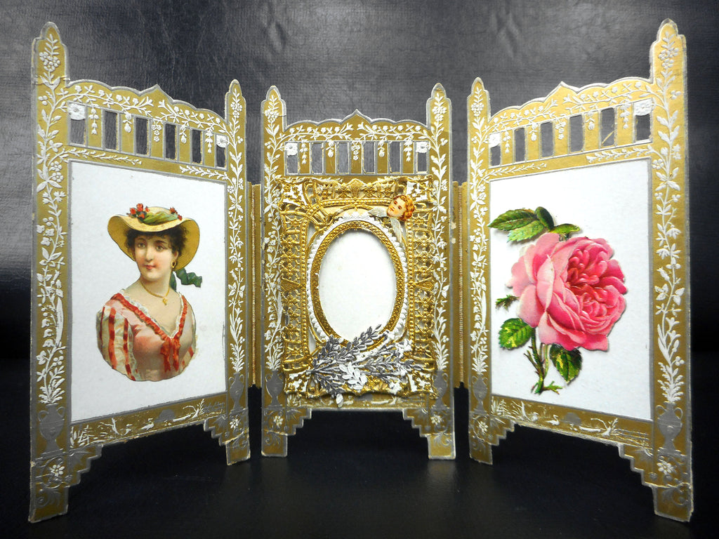 "Antique Victorian Laced Wish Love Card and Picture Frame 6 X 10"", Gold and Silver Standalone Triptych Screen, Lady, Angel, Cherub, Rose"