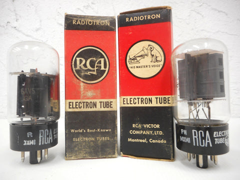 2 Vintage RCA Radiotron Electron Vacuum Tubes Bulbs 6AV5GA, Original Boxes, New Old Stock NOS, For Vintage Radios and Televisions