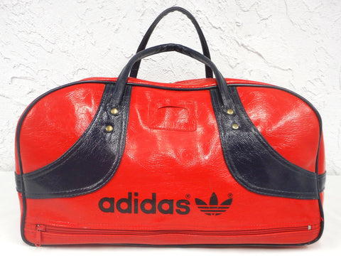 "Vintage Red Adidas 1970s Original Duffel Sports Gym Bag 18"", Tennis Sports Hand Bag made in Japan, Red and Blue Leatherette"