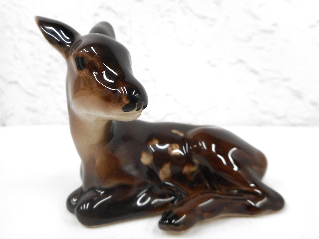"Vintage Keramos Porcelain Fawn Deer Baby Bambi Animal Figurine 3 1/4"", Signed, Made in Vienna Austria, Glossy"