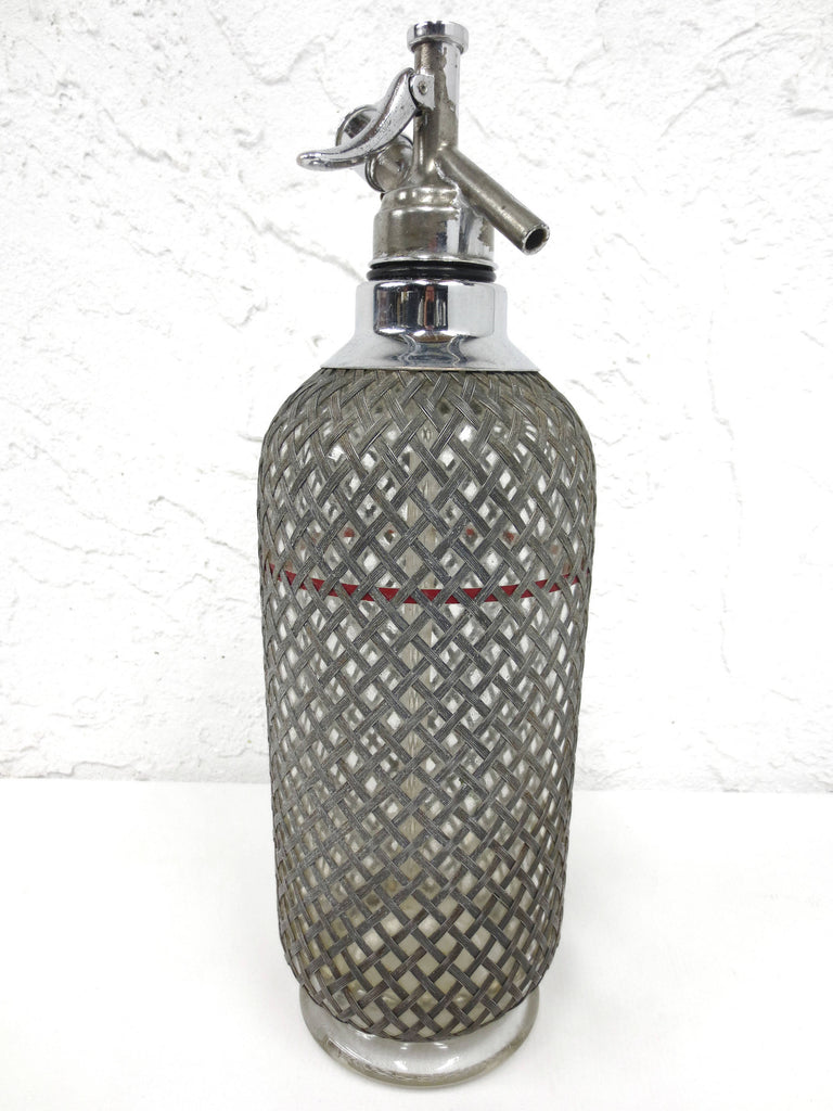 "Vintage Sparklet London Soda Seltzer Syphon 13.5"" Tall, Glass Bottle with Metal Lattice, Red Level"