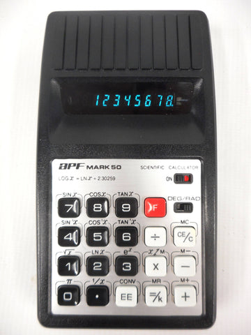 Vintage 1975 APF Mark 50 Scientific Calculator from Japan, Black Leather Pouch, Retro Led Display