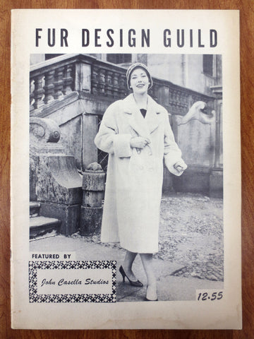 Vintage 1955 Fur Revue Magazine, Design Guild by John Casella New York, Mid-Century Fur Coat Fashion Advertisement, Illustrated, 28 pages