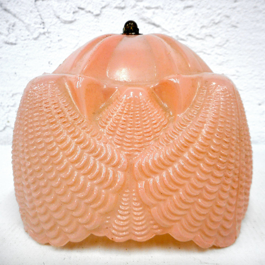 Vintage 1930's Depression Era Pink Frosted Glass Lamp Shade for Southern Belle Boudoir Lamp, Art Deco