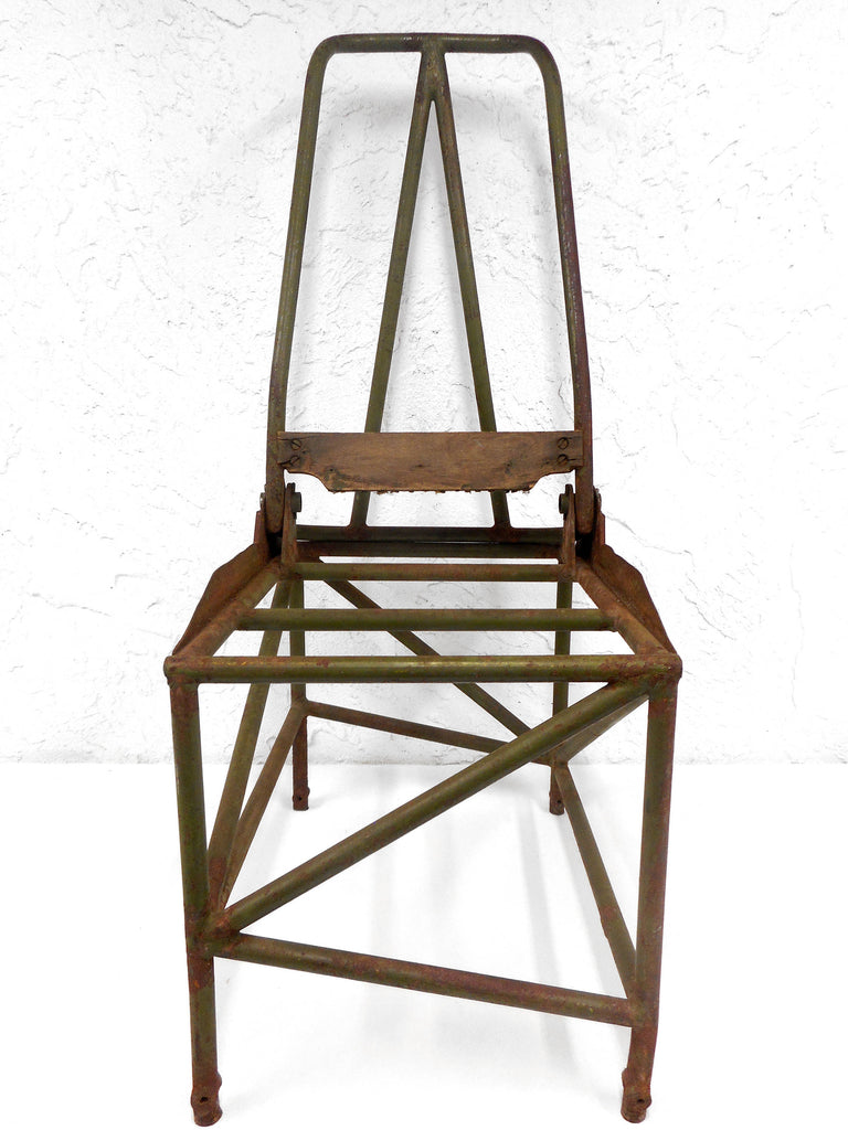 "Vintage WWII Army Aircraft Artilleryman Chair 31"", Folding Tube Metal Soldier Chair, Original Green, Military Airplane Gunning Turret"