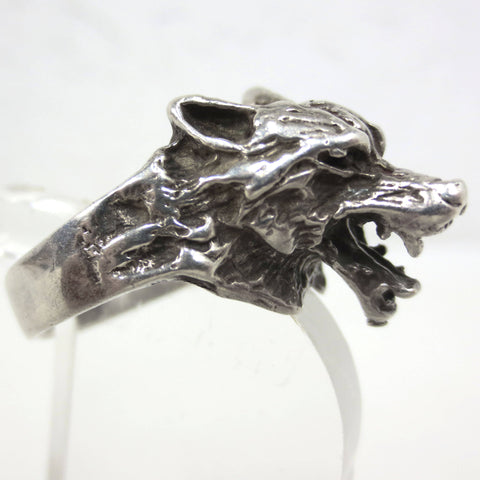 Vintage Wolf Wolfhound Sterling Silver Ring Size 11, Angry Dog Showing His Teeth, Large 20 mm Sculpted Head, 11.6 Grams